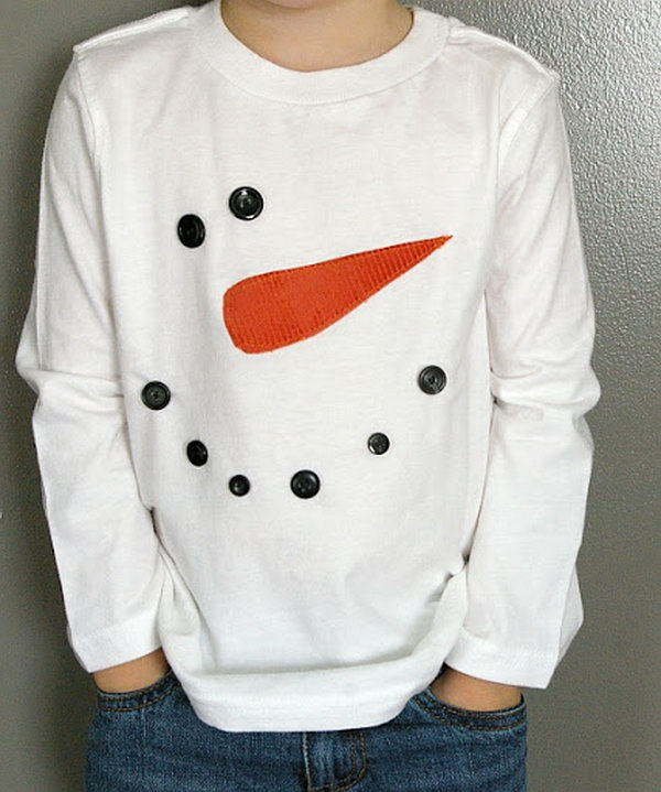 Snowman tshirt. It's a fun way to spice up a plain white tee for the winter season!