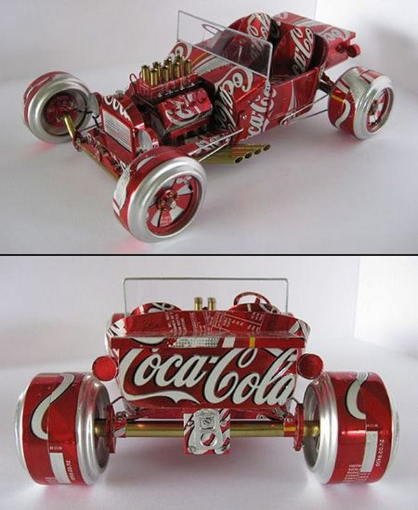 Miniature cars from aluminum cans. After drinking soda from aluminum cans, you can recycle your soda cans to create interesting projects instead of tossing the empty cans into the garbage or recycling bin.