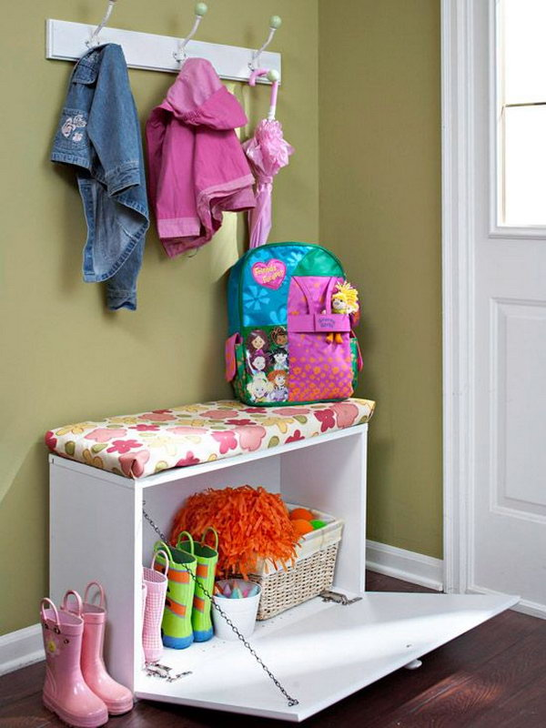 Entryway storage bench for small space. Allow you to store books, shoes and other items in the bench, and sit on it while having the supply's in the compartments.