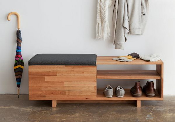 Two shelves storage bench. Allow you to store books, shoes and other items in the bench, and sit on it while having the supply's in the compartments.