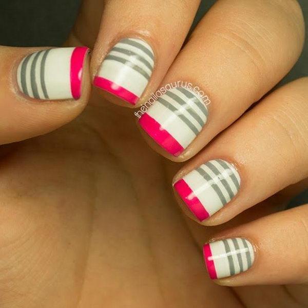 Cool Stripe Nail Art. - Cool Stripe Nail Designs - Hative