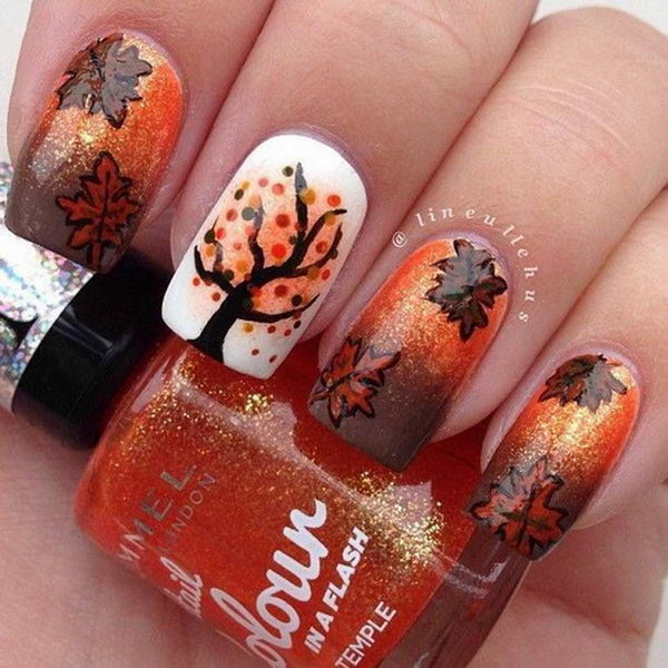 Diy Autumn Gradient Nail Art: 30 Cool Thanksgiving And Fall Nail Designs