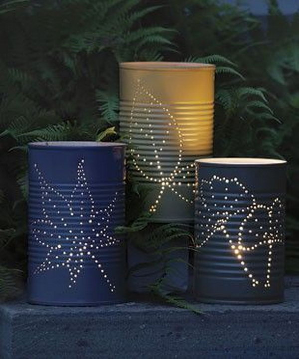 Tin can lanterns. Tin cans are not just for stacking up in your cabinet, tossing in the trash or sending to the recycle bin. Combine those with a rope, paints, craft papers and a generous helping of crazy imagination, and you will have a cool creation on your hands.