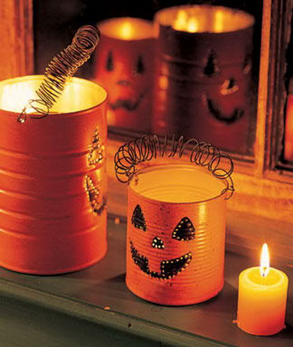 Make pumpkin lanterns with tin cans. Tin cans are not just for stacking up in your cabinet, tossing in the trash or sending to the recycle bin. Combine those with a rope, paints, craft papers and a generous helping of crazy imagination, and you will have a cool creation on your hands.