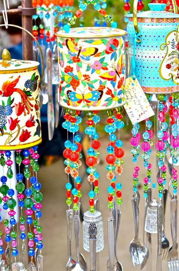Wind chimes made from cans. Tin cans are not just for stacking up in your cabinet, tossing in the trash or sending to the recycle bin. Combine those with a rope, paints, craft papers and a generous helping of crazy imagination, and you will have a cool creation on your hands.