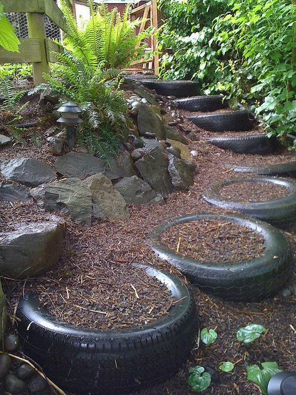Old tires stairs.