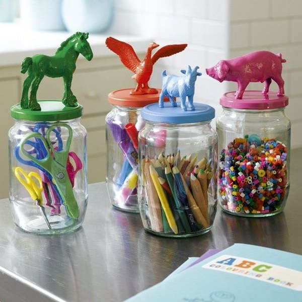 glass jars as toy storage,