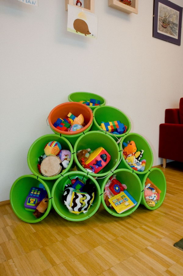 buckets and zip tiles as diy toy storage,
