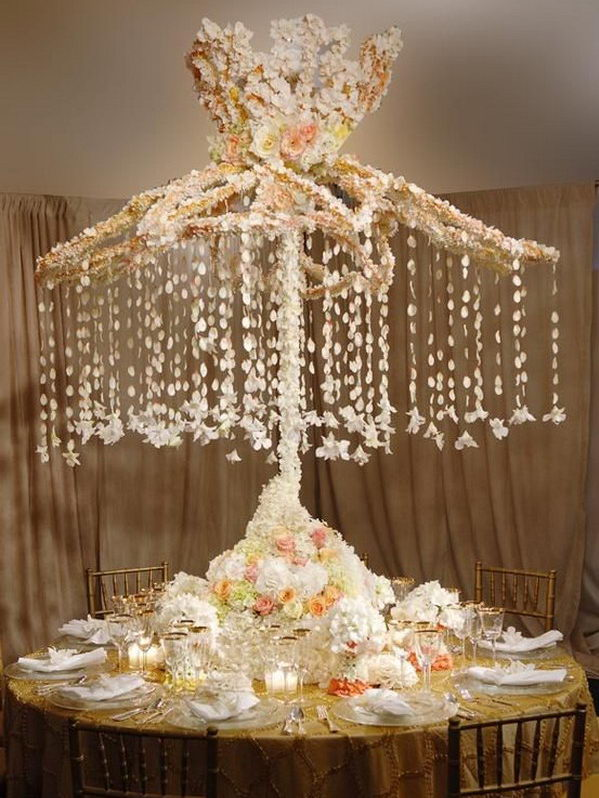 Use old umbrella to decorate wedding table.