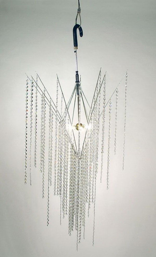 Chandelier from old umbrella and crystal.