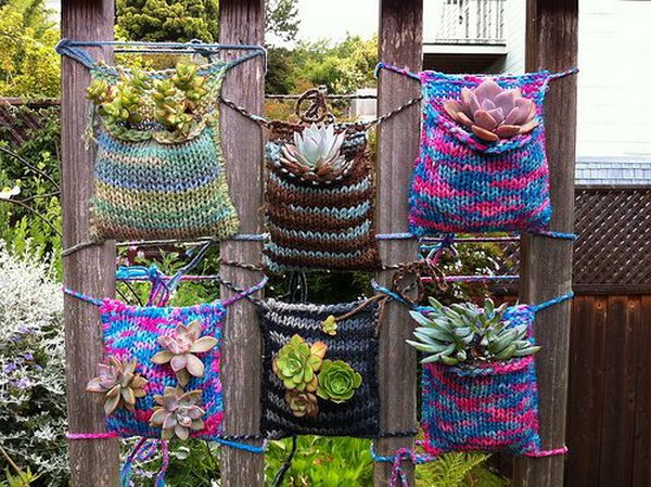 Crochet vertical garden. It allows plants to extend upward rather than grow along the surface of the garden. Doesn't take a lot of space and look so beautiful at the same time.