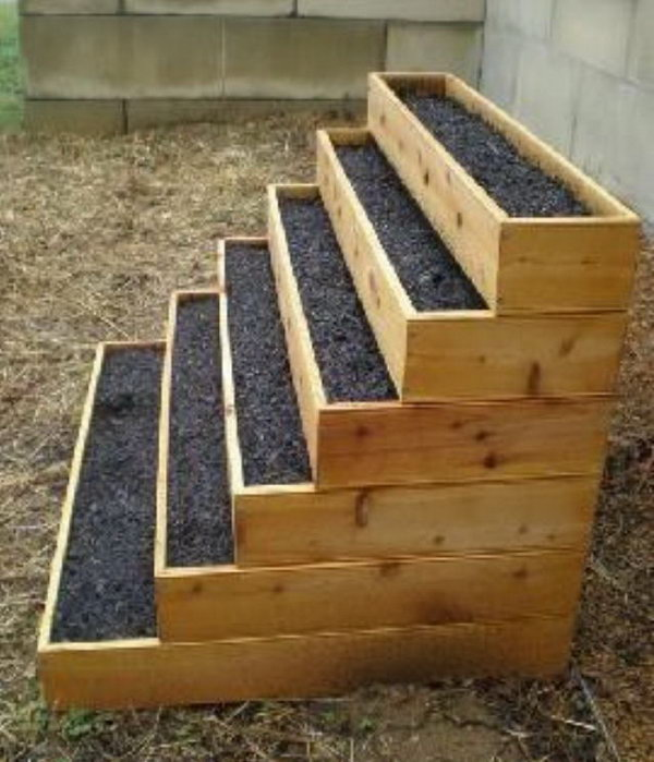Stacked raised bed herb garden.