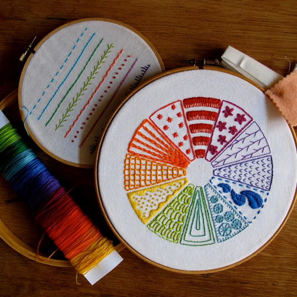Learn Embroidery Through This Stitched Color Wheel