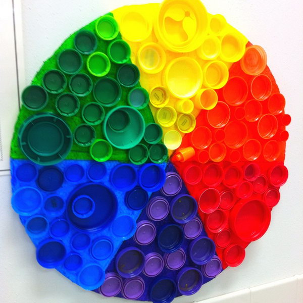 Recycled plastic bottle cap color wheel, source