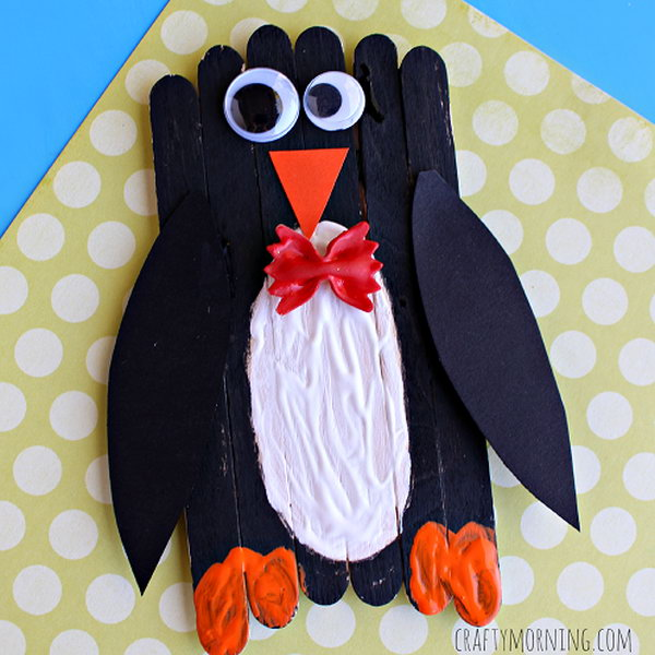 Make an adorable bow tie penguin craft with popsicle sticks. This would be a great winter art project for kids young or old.