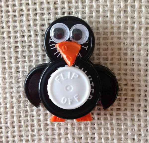 Penguin ID Badge Holder made from sterile IV vial tops,