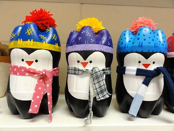 Grab those empty bottles and make a huddle of penguins for your mantle this winter. It is a great craft to teach kids recycling.