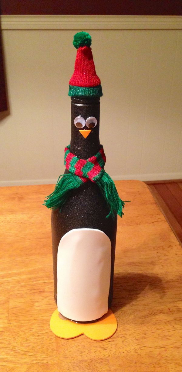 Penguin wine bottle craft,