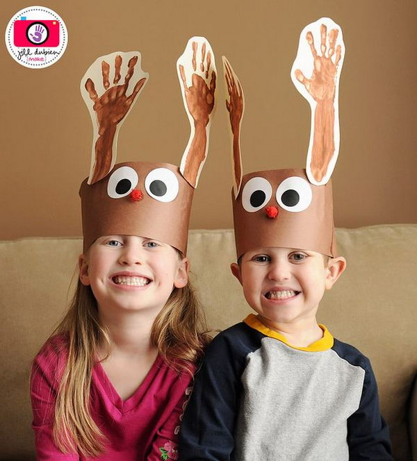 The reindeer hats with handprint antlers are so cool. They were also super simple to make.