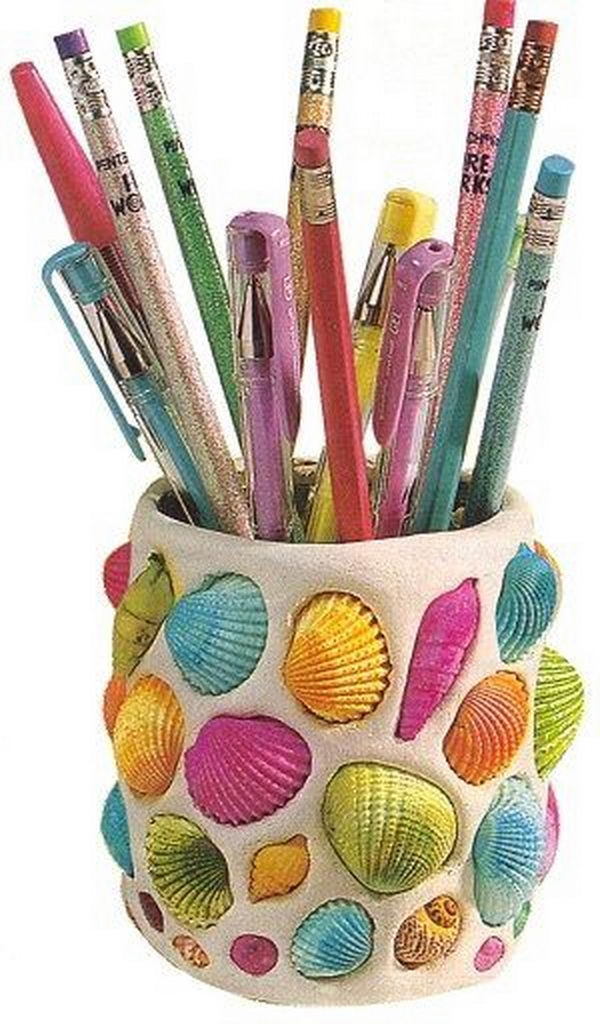 20 cool seashell project ideas hative Cool pencil holder ideas