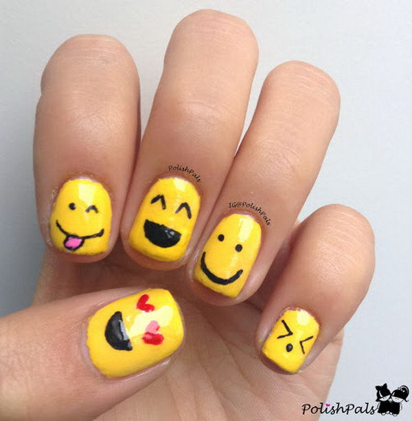 Cute and Happy Smiley Face Nails. What better ways to show your happy ...