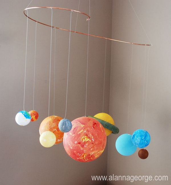Craft Ideas For Kids Solar System Part - 48: What A Cute Idea For This DIY Solar System Mobile Hanging In Bedroom.