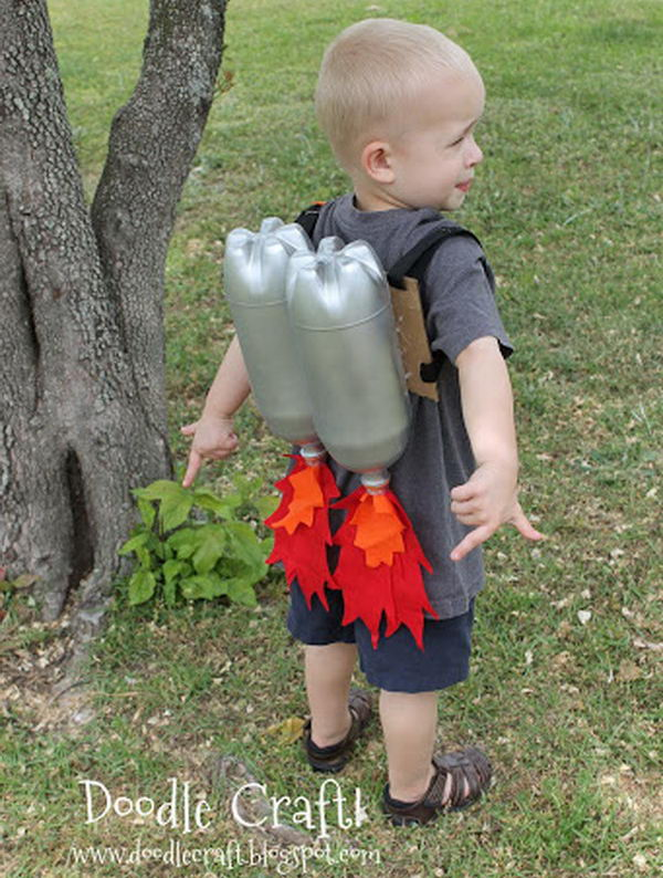 Super Sci Fi Rocket fueled Jet Pack Craft Made From Plastic Bottles.