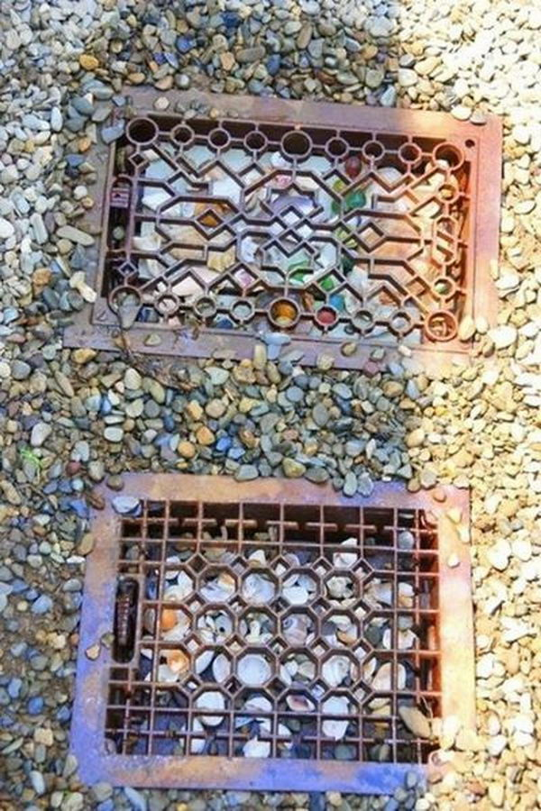 Old Heater Grates Stepping Stones. Not only functional but also can be used to decorate your garden. Make the walk in your garden more exciting and fun.