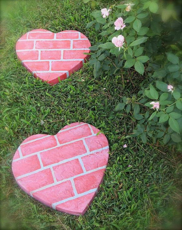 Red Heart Shape Stepping Stones. Not only functional but also can be used to decorate your garden. Make the walk in your garden more exciting and fun.