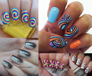 swirl nail art collage