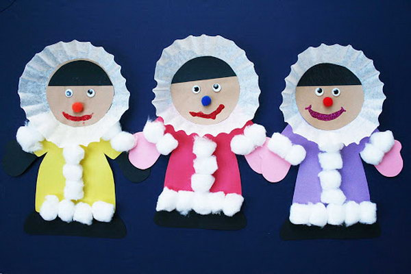 Create eskimo crafts with coffee filters, cotton balls, google eyes and construction paper.