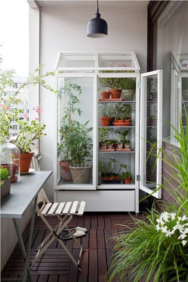 Balcony Garden Design balcony gardens sydney Smart And Simple Balcony Garden With Cabinet Turned Greenhouse