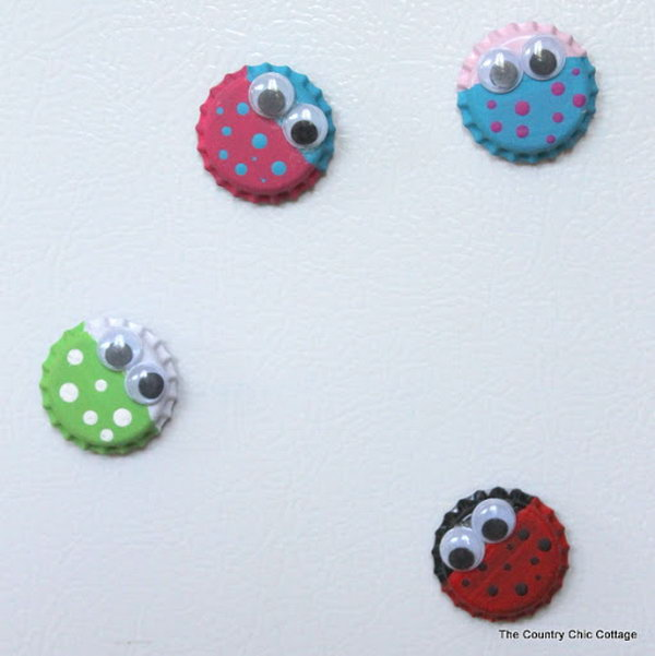 Bug Magnet Kids Craft with Bottle Tops,