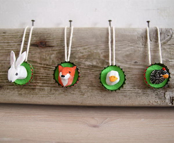 Cute bottle top ornaments for kids bedroom.