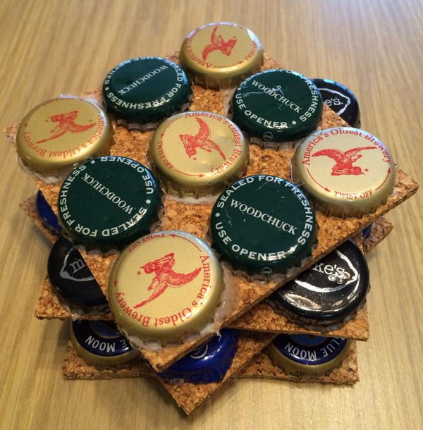 These bottle cap coasters would be perfect if you're having a party.