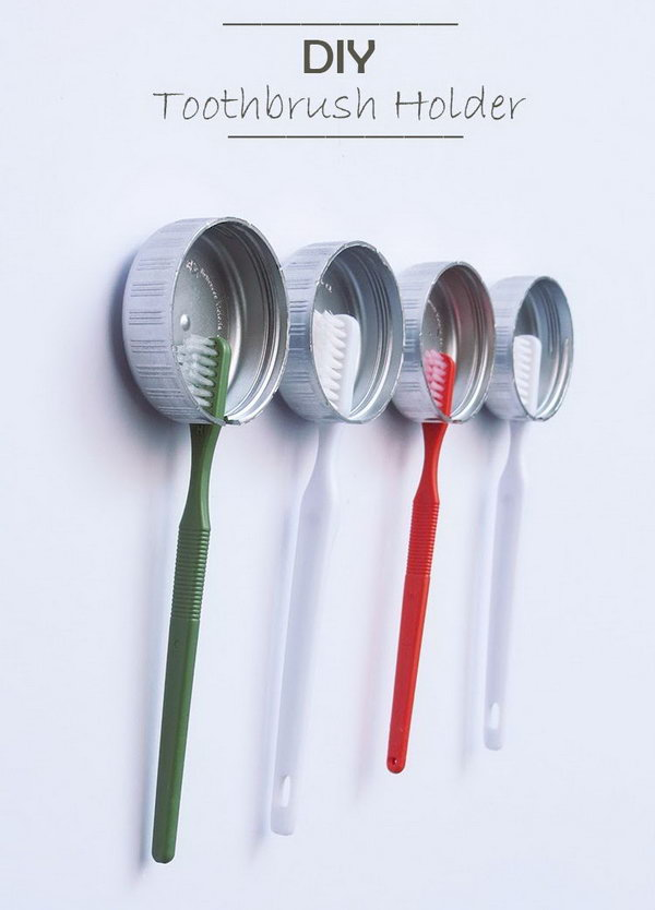 This idea is very simple and looks great! Use the plastic covers to make holders for toothbrushes.