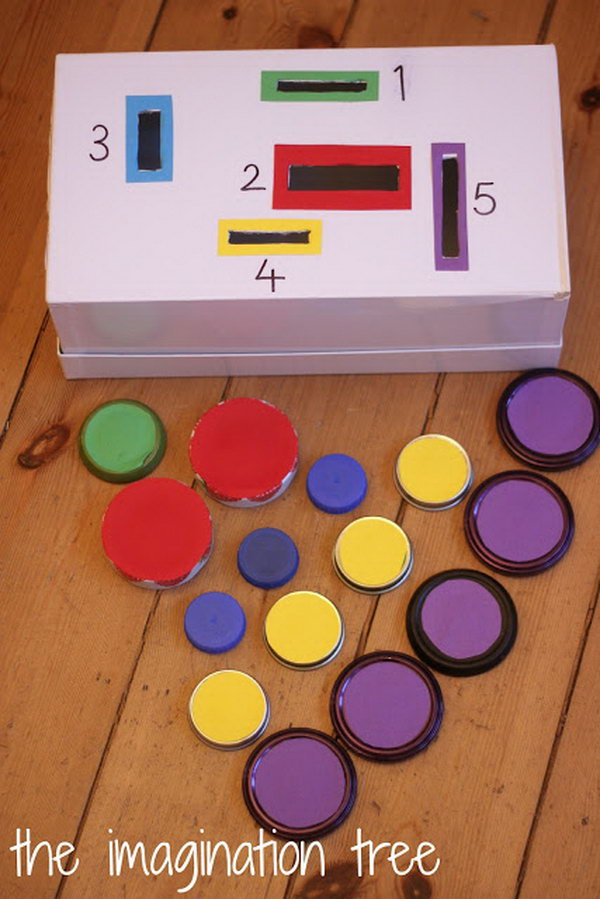 Make a count and sort posting box for fine motor practise and problem solving. The enduring appeal of dropping and posting through holes will make this a real favourite game.