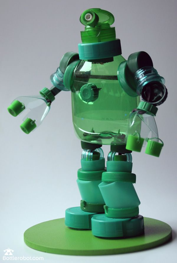 Robots made from plastic bottles and caps,