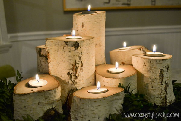 These tree stump candles are the best way to set the mood for holiday entertaining and warm up the space.