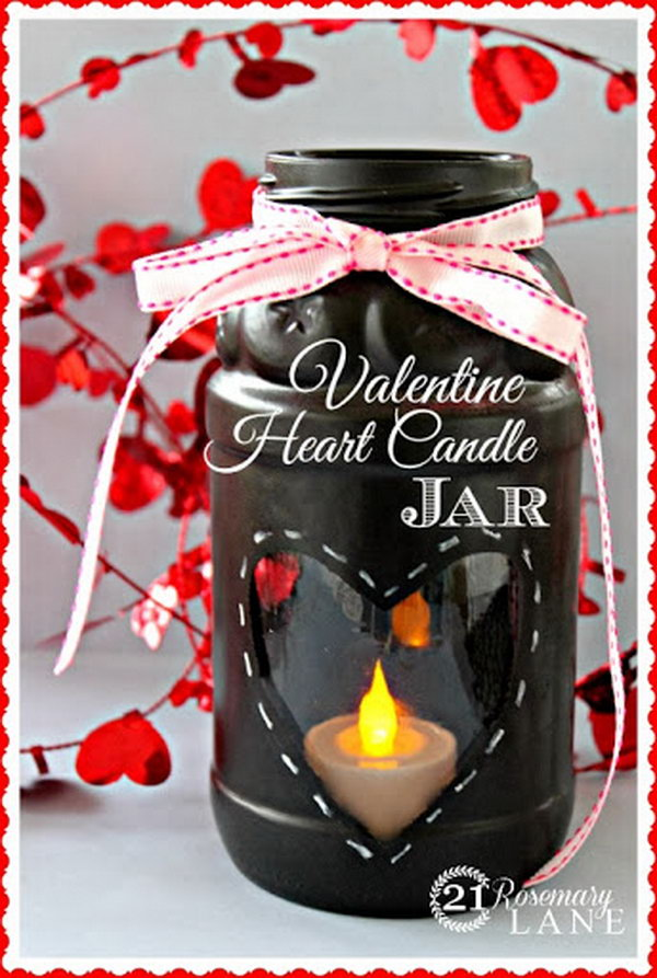 Darling Heart Candle Jar Made From a Spaghetti Sauce Jar,