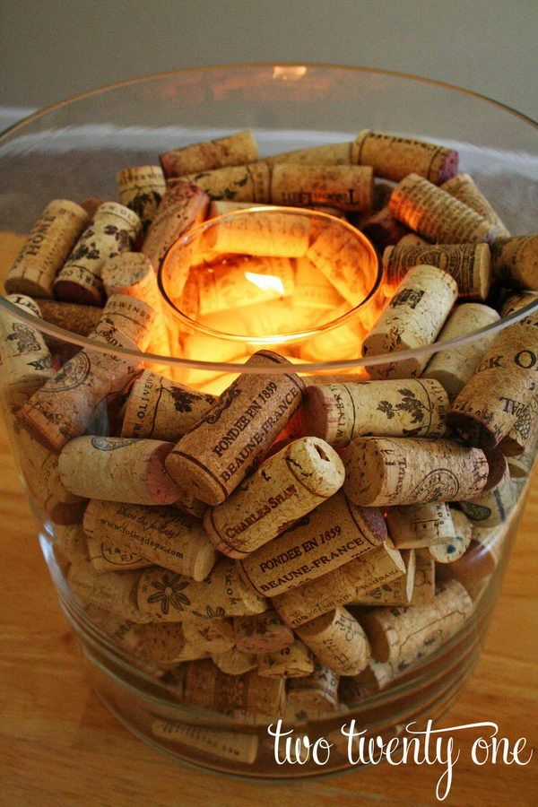 Homemade Wine Cork Candle,