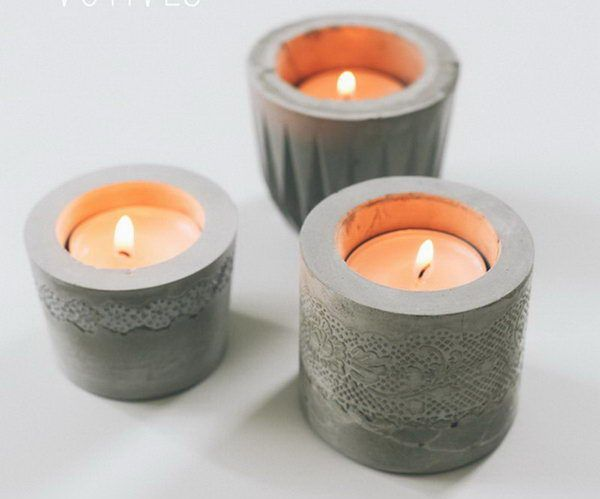 DIY Laced Cement Candle Holder,