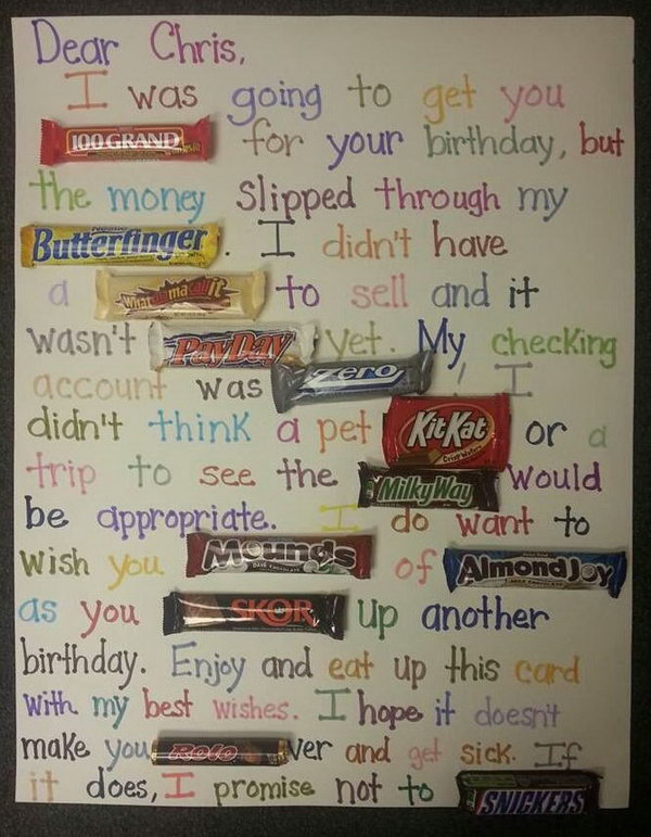 Candy Bar Poster Birthday Card,