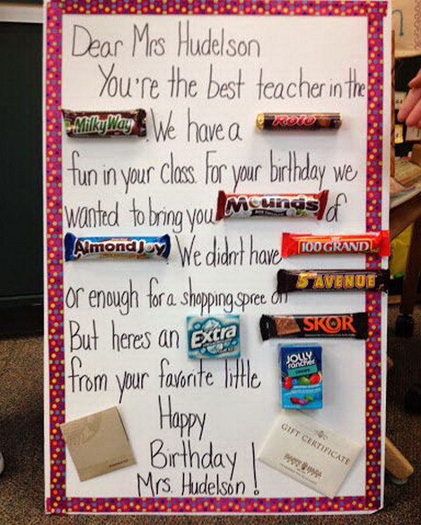 candy bar card for the teacher