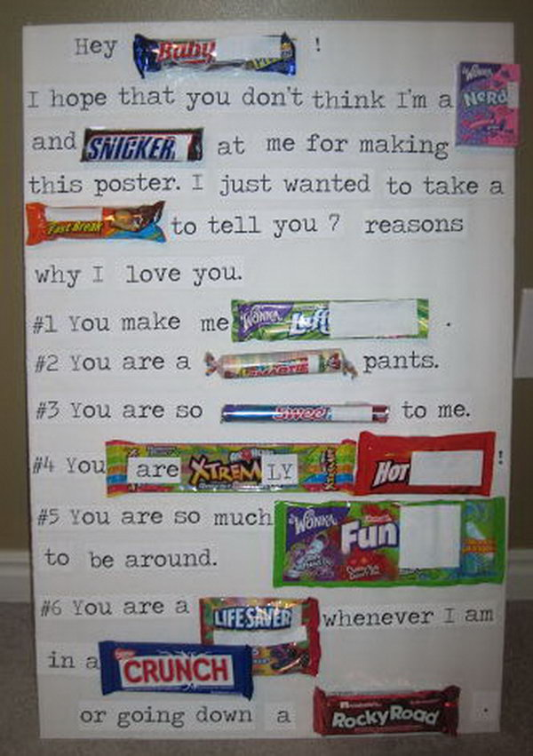 Valentines Candy Bar Poster for Him,