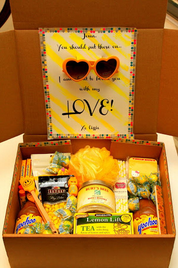 Fill a box with fun yellow gifts, and blind your friend with your love.