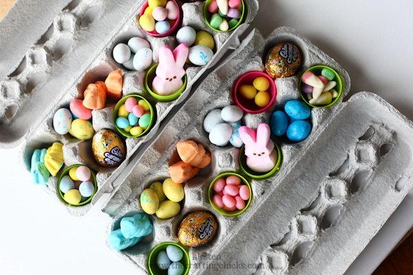 In this DIY care package, an empty egg carton was used as a cool container for treats.