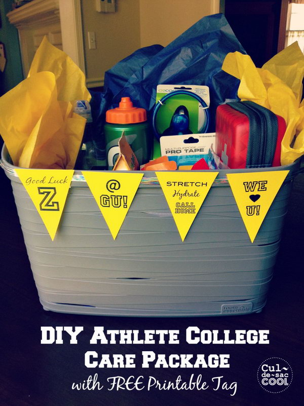 DIY Athlete College Care Package With Free Printable Tag,