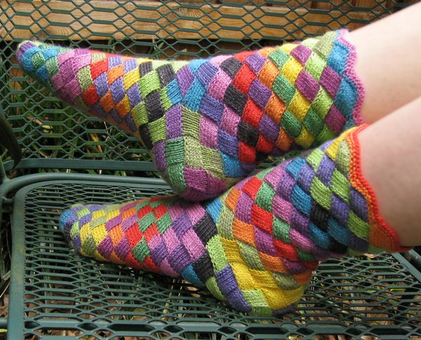 These rainbow knitted socks are so lovely and perfect for gifts.