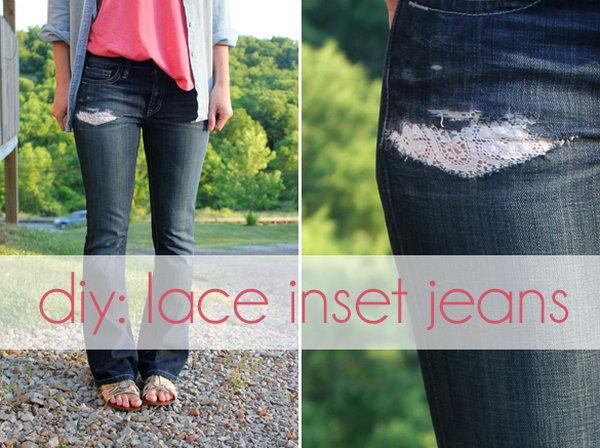 DIY Lace Inset Jeans,
